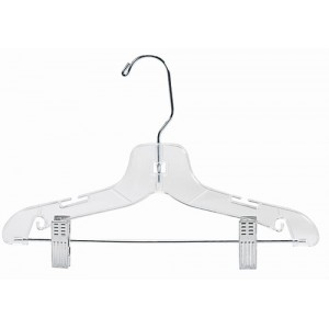 "12"" Childrens Plastic Suit Hanger w/Clips"