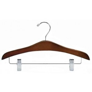 Walnut & Chrome Flat Decorative Combination Hanger