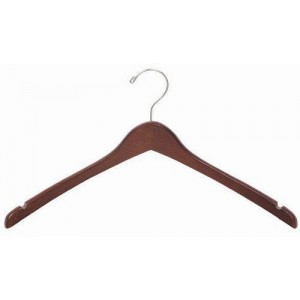 Walnut & Chrome Contoured Coat/Top Hanger
