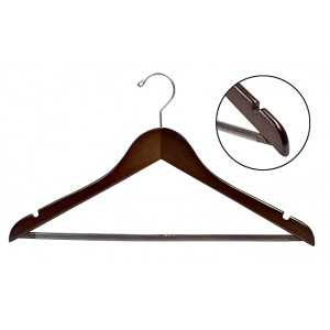 Walnut & Chrome Flat Suit Hanger w/Non-Slip Bar