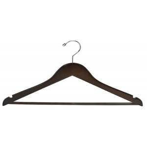 Walnut & Chrome Flat Petite Size Suit Hanger