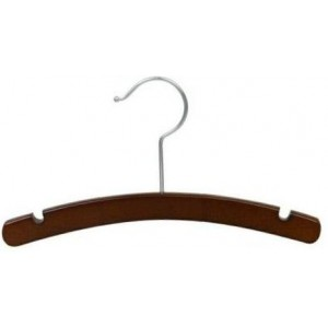 "10"" Baby/Infant Walnut & Chrome Top Hanger"