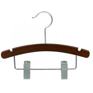 "10"" Baby/Infant Walnut & Chrome Combination Hanger"