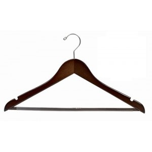Walnut & Chrome Oversize Flat Suit Hanger w/Non-Slip Bar