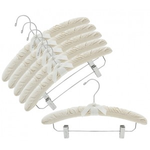 Natural Cotton Canvas Padded Hangers w/ Chrome Hook & Clips