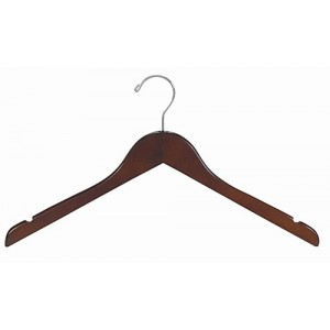 Walnut & Chrome Flat Top Hanger