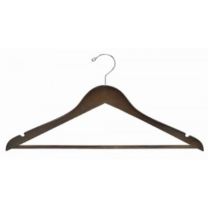 Walnut & Chrome Flat Suit Hanger w/Bar