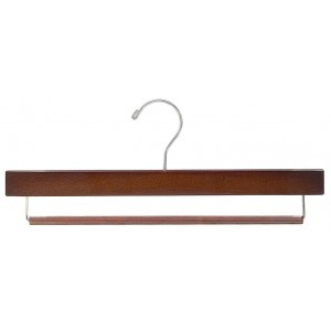 Walnut & Chrome Pant Hanger w/ Non-Slip Bar