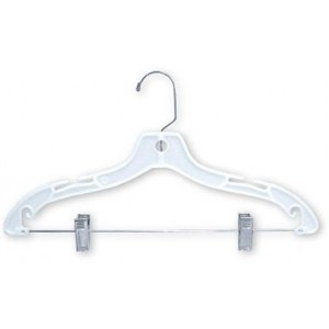 "White 17"" Combination Hanger w/Clips"